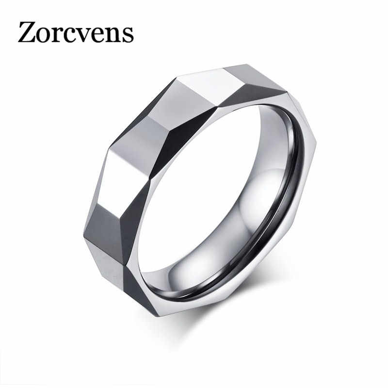 ZORCVENS 5.5mm Ring Wide Faceted Cut Geometric Tungsten Carbide Wedding Rings For Men Jewelry Male Anillos Bague