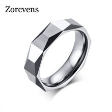 ZORCVENS 5.5mm Ring Wide Faceted Cut Geometric Tungsten Carbide Wedding Rings For Men Jewelry Male Anillos Bague(China)