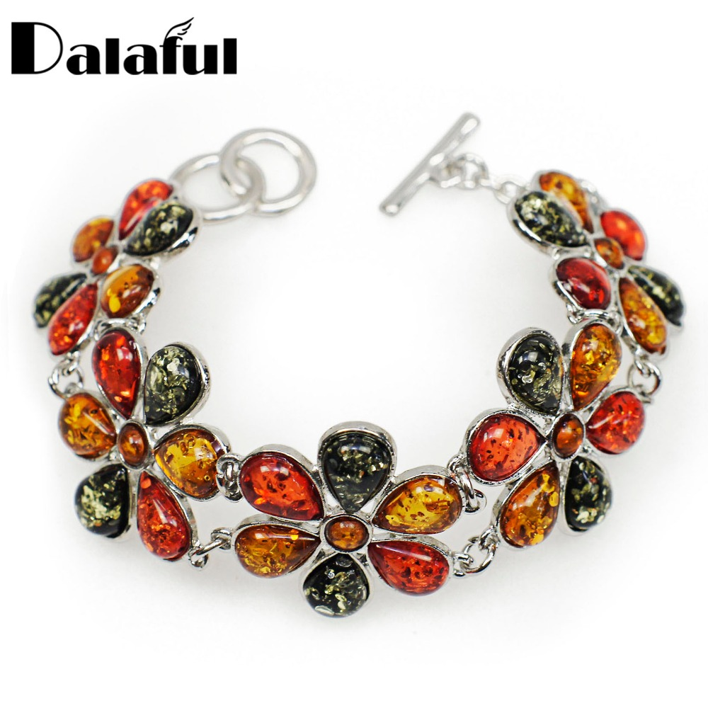 Fashion Hot Beautiful Flower Baltic Skapad Honey Multicolor Link Kvinnors Bröllop Bangle Armband L80401