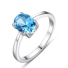 цена INALIS New Delicate Finger Ring 925 Sterling Silver Fine Jewelry Inlay Single Oval Natural Light Blue Topaz Crystal for Women онлайн в 2017 году