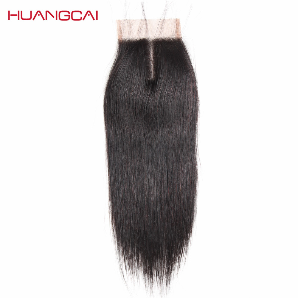 Huangcai Brazilian Straight Hair Lace Closure with baby hair One bundle 4x4inch Human Hair Middle Part