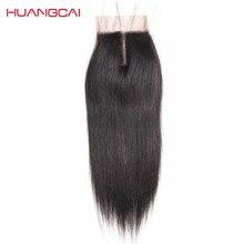 Huangcai Бразильский прямые волосы Синтетическое закрытие шнурка волос с ребенком волос один комплект 4×4 дюймов De Cheveux humains средняя часть не Реми 8 -18 дюймов