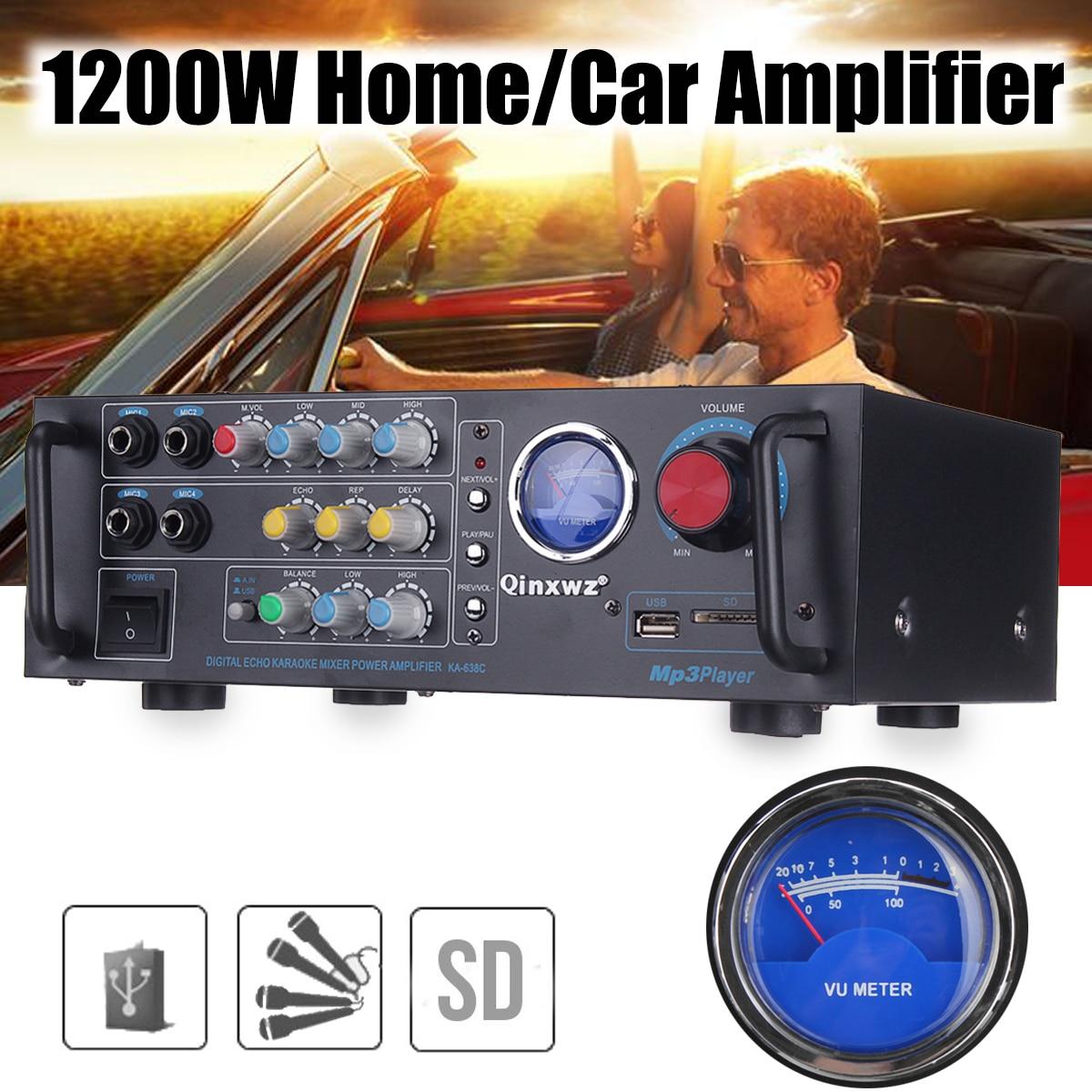600W+600W 2 Channel HiFi Digital Audio Power Amplifier MINI Car Stereo Amplifier Super Bass with VU Meter DC12V/220V