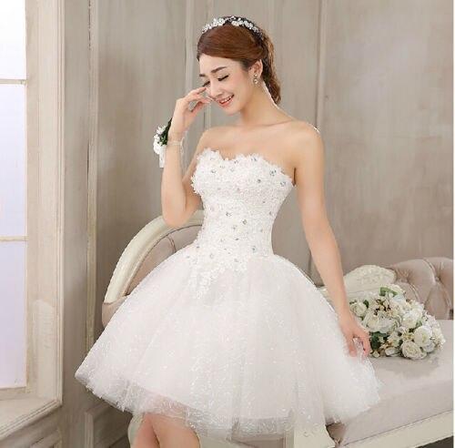 2015 nuevo blanco de encaje Mini boda vestido corto de encaje hasta ...
