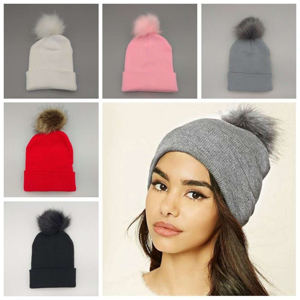 21d3f6dc04b Female fur ball cap pom poms winter hat for women girl  s hat knitted  beanies