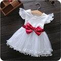 Bebé Vestido de Las Muchachas Nuevo Estilo Ocasional Del Verano Vestidos de Princesa Ropa de Los Cabritos Arco Floral Diseño para Bebés se Viste HB2094