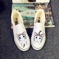 2015 Новых Квартир Холст Обувь Повседневная Обувь Сыр cat граффити холст обувь Мелкая рот заклинание цвет сухожилия Холст