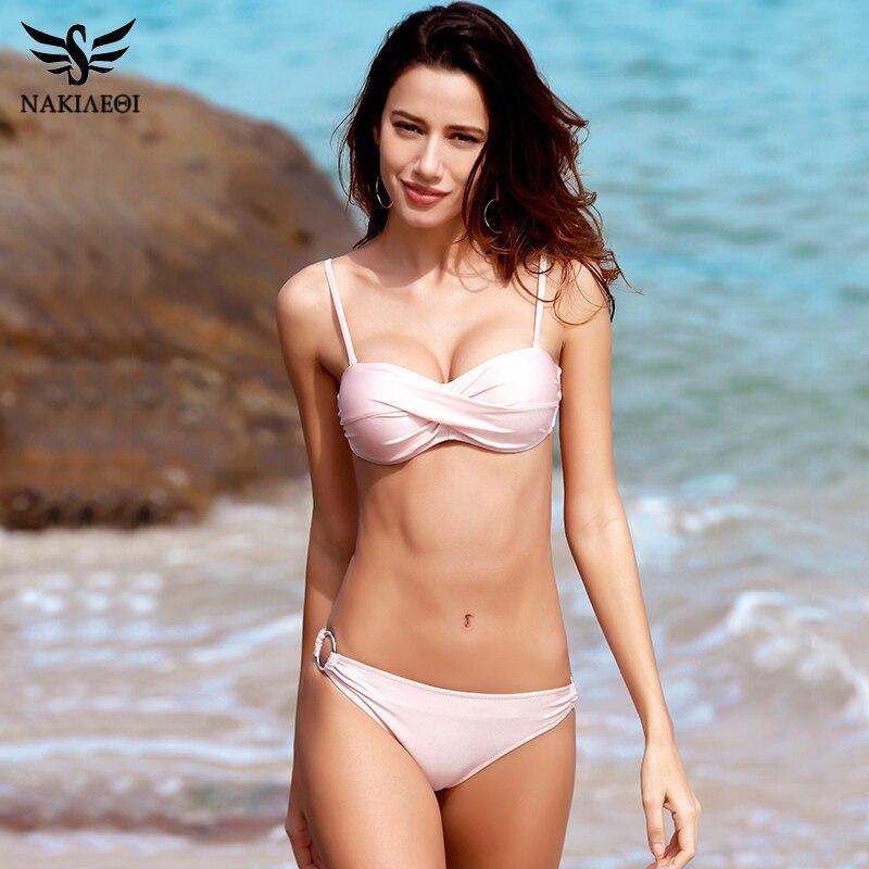 NAKIAEOI 2018 Sexy Bikinis Women Swimsuit Push Up Swimwear Halter Solid Brazilian Bikini Set Beachwear Bathing Suits Swim Wear