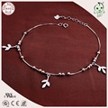 Good Quality Hot Sale Delicate Gift 100% 925 Genuine Silver Foot Anklet Chain With Silver Leaf Pendant  For Girl's