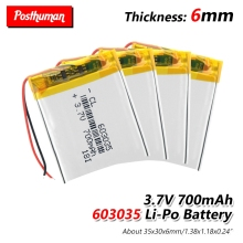 603035 3.7V 700 mah Rechargeable Polymer battery smart home Li-ion battery for dvr GPS mp3 mp4 PSP Bluetooth headset Smart Watch все цены