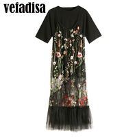 Vefadisa 2017 Summer New Black Shirt Short Sleeve T Shirt Embroidery Gauze Loose Casual Camisole