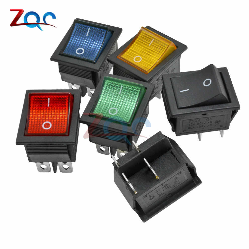 KCD4 Rocker Switch Button ON OFF 2 Position 4 Pins 6 Pins Electrical Equipment With Light Power Switch 16A 250VAC AC 250V