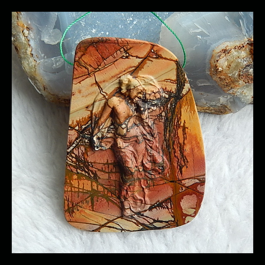 SALE 1pcs Natural Stone Multi-Color Picasso jasper Character Pendant 69x50x5mm 53.1g Fashion Jewelry AccessoriesSALE 1pcs Natural Stone Multi-Color Picasso jasper Character Pendant 69x50x5mm 53.1g Fashion Jewelry Accessories