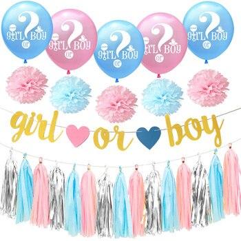 14 uds, guirnalda de papel de borlas de seda, banderines de conjunto de flores, globo de látex con letras para niño o niña, decoración de género para fiestas, regalo para niños