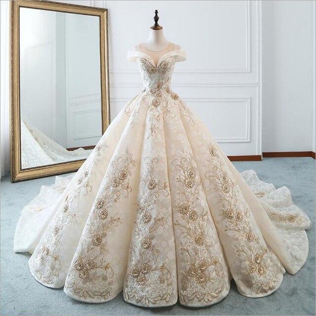 ใหม่หรูหราคอเรือแขนสั้น Appliques ประดับด้วยลูกปัดชุดแต่งงานลูกไม้สำหรับเจ้าสาว Gowns แต่งงานคู่แต่งงาน Vestido De Noiva