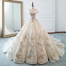 Cao Cấp Thuyền Mới Cổ Appliques Sang Trọng Chiếu Trúc Hạt Ren Áo Cưới Cho Cô Dâu Áo Cưới Bridals Đầm Vestido De Noiva
