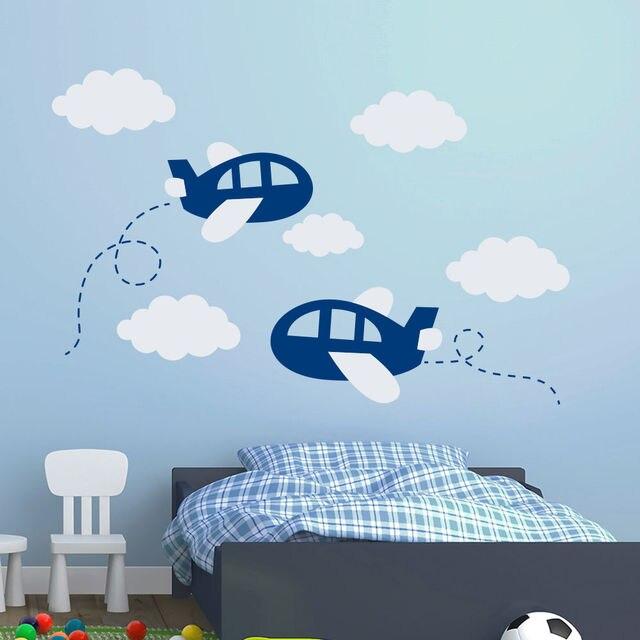 Diy Kinderzimmer Flugzeug Wandtattoos Flugzeug Wolken Aufkleber