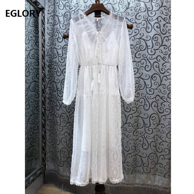 Top Quality Brand White Party Vestidos Women V-Neck Exquisite Embroidery Lace Patchwork Long Sleeve Mid-Calf Length Dress Events