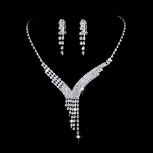 Sterling Silver Jewelry Sets For Women Wedding Bridal Accesories Bridesmaid Sparkling Necklace Stud Earring Full Of Rhinestone
