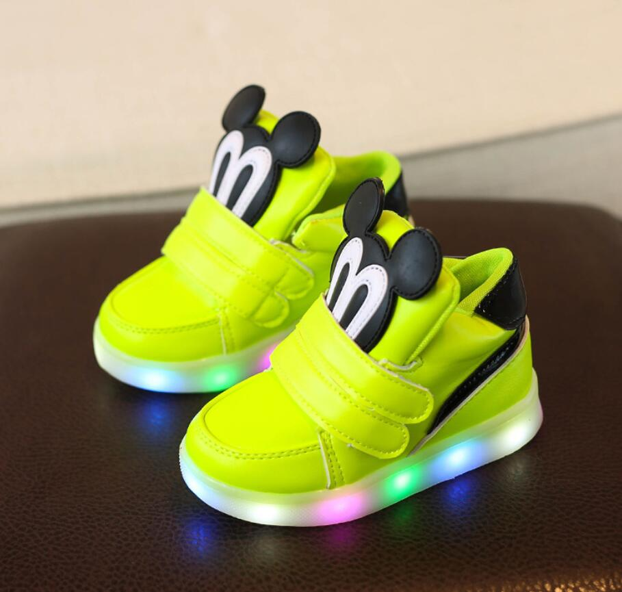 Casual-Shoes Light Mouse Girls Sneakers Luminous-Boots LED Boys Fashion Cartoon Children