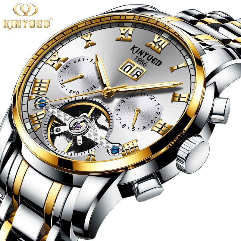 KINYUED Men 39 s Mechanical Watches Top Brand Luxury Skeleton Watch With Automatic Winding Watch Men Waterproof relojes Clock in Mechanical Watches from Watches