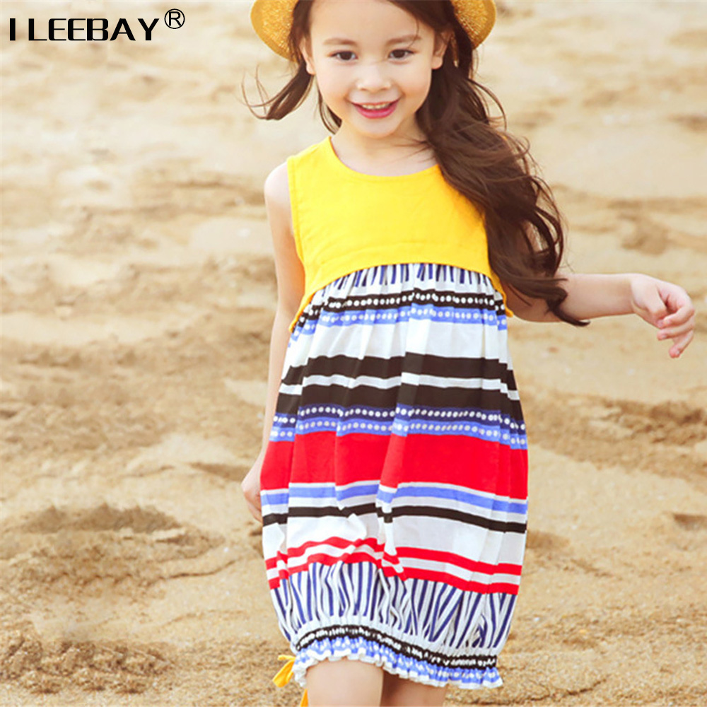 Summer Seaside Girls Dresses Children Korean Style Clothing Big Girl Casual Striped Costume Kids Cotton Clothes Junior Vestidos  high quality casual cotton striped dress for girls teenagers kids summer sleeveless soft vest vestidos children costume