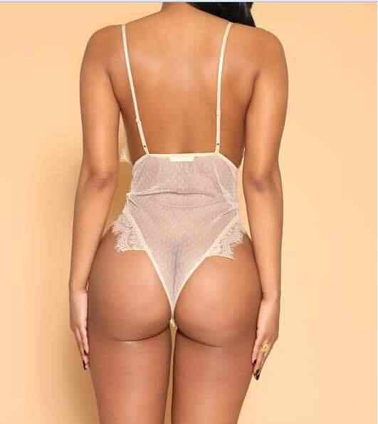 Verano de 2018 de las mujeres de la correa de espagueti delgada mameluco mono Sexy transparente de encaje Floral V profunda sin respaldo de malla pura mono Mujer