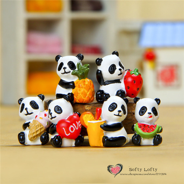 Free shipping 1 pc Retail Panda Bear Mini Figure PVC toys succulent plant cake car office decoration party supply kids gifts