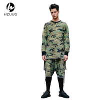 Yeezy Oversized Camo Hip Hop Justin Bieber Clothes Street Wear Kpop Urban Clothing Mens Long Sleeve