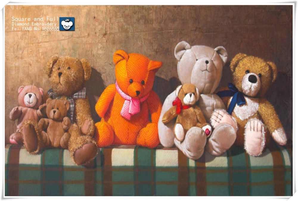 الماس التطريز الدب الدمية البرتقال الكريستال الماس الماس اللوحة الفن صورة الراين التطريز طقم تزيين المنزل