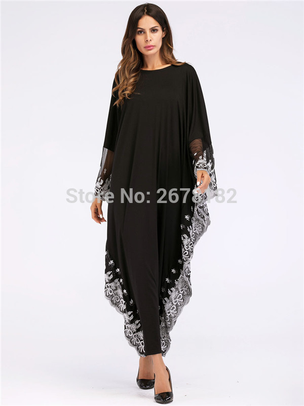 Black Big Sleeve Chiffon Anarkali Frocks Gowns White Lace Edge  Decoration,New Model Abaya in Dubai Wholesale Indian Clothing