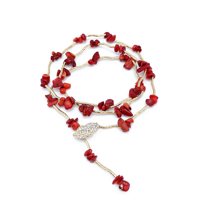 Women's Necklace Red Green Blue Fashion Stones Crystals Chain Jewelry