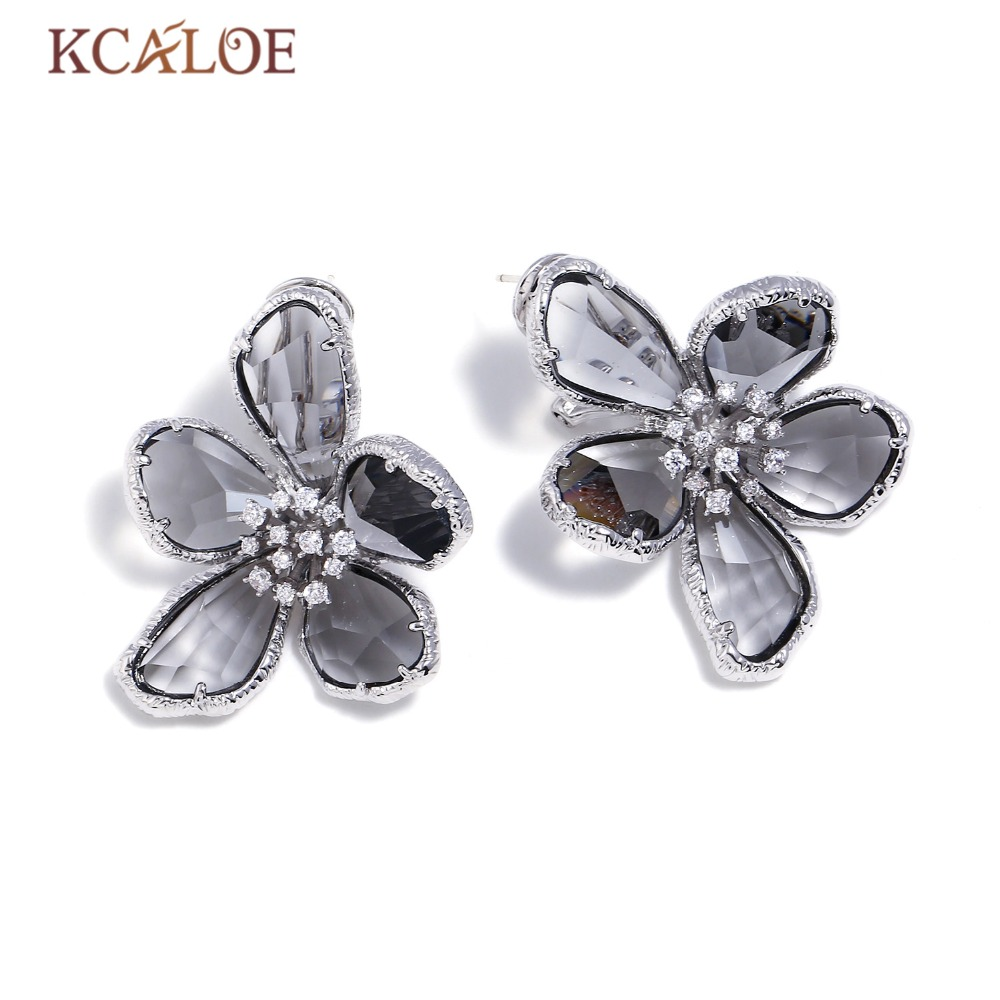 KCALOE Gray Austrian Crystal Big Flowers Wedding Earrings For Women Silver Color Luxury Rhinestone Statement Stud Earring pair of stylish rhinestone triangle stud earrings for women