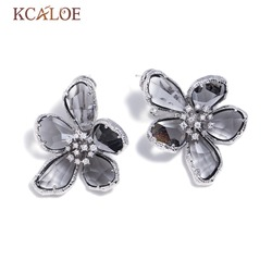 KCALOE Gray Austrian Crystal Big Flowers Wedding Earrings For Women Silver Color Luxury Rhinestone Statement Stud Earring
