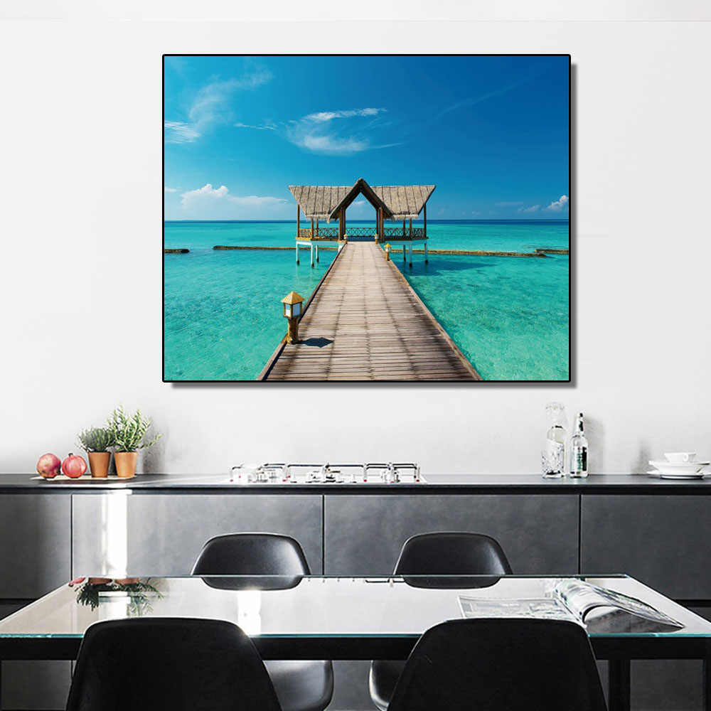 Laeacco Canvas Painting Calligraphy Sky Sea Bridge Posters and Prints Wall Art Pictures for Living Room Bedroom Decoration