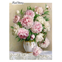 Square Drill Peony Modern Home Decoration Diy Diamond Painting Flowers Needlework 3d Full Diamond Embroidery Painting