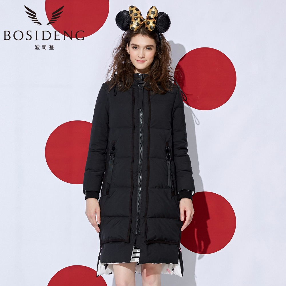 BOSIDENG winter down coat women X-Long down jacket female long outwear with hood micky high quality thick warm parka B1601152 цена