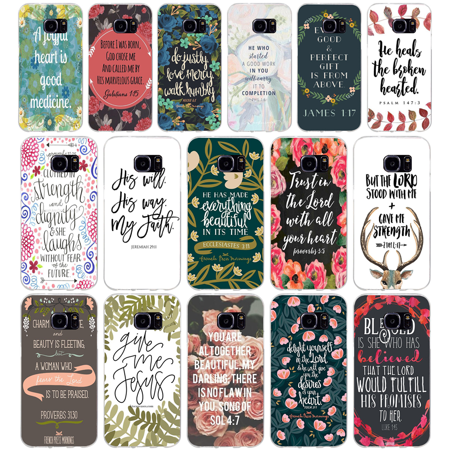 209 Bible Philippians Jesus Christ Christian Verse Soft TPU Silicone Cover Case for samsung Galaxy s6 s6 s7 edge s8 s9 plus case image