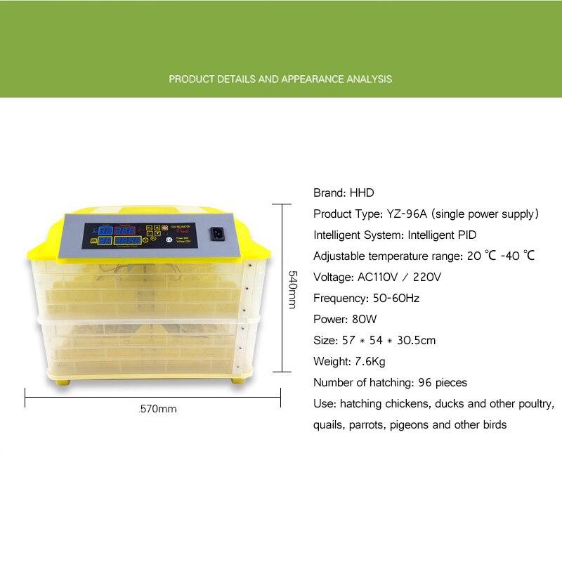 Automatic Egg Incubator Controller for 96 Eggs Digital Egg Turning Temperature Control Farm Hatchery Machine Chicken Egg Hatcher