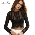 ArtSu 2017 Lace Blouses See-through Crop Shirt Women Summer Round Neck Long Sleeve Sexy Tops Zipper Blouse ASBL30000