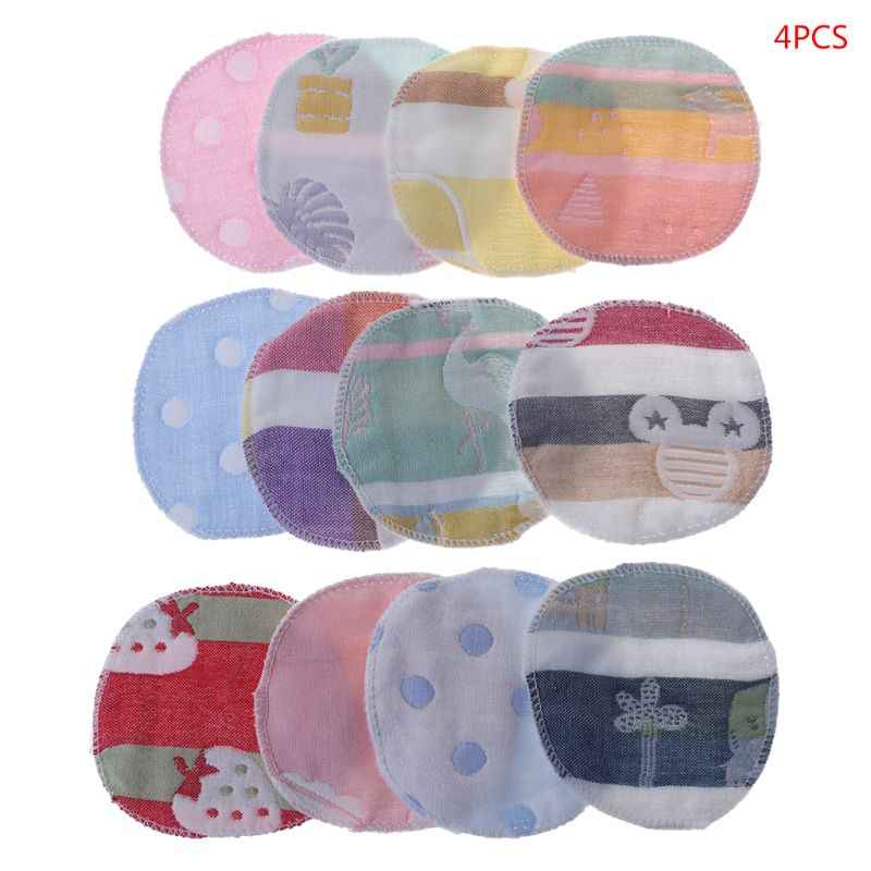 a109c254a5a 4PCS Breast Pads Mom Milk Feeding Baby Prevent Leakage Washable 6 Layer  Gauze Blend Cotton Cushion