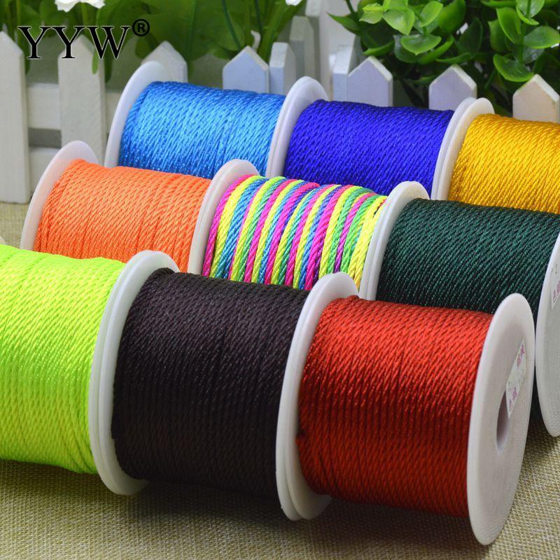 TOP 36meters/roll multi macrame cord Nylon Cord 2mm Macrame Thread Cord Beading Cord