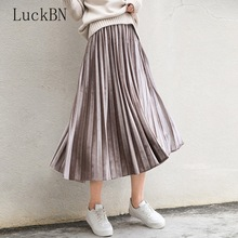 Spring Women Long Metallic Silver Maxi Pleated Skirt Midi High Waist Casual Party Harajuku Velvet Autumn Hot