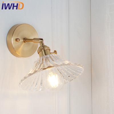 цена на IWHD Copper Nordic Style Wall Lamp Vintage LED Wall Lights With Glass Lampshade Fixtures Home Lighting Bedside Sconce Luminaire