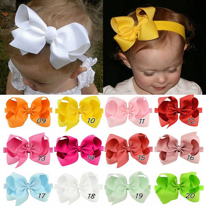 Kids Girl Accessories Baby Fashion Hair Band Headwear Lovely Headband 6 inches Bow Tie Elasticity Children 1pc New Toddler popular in europe and america children wear hair knotted cotton big bow tie children hair baby hair headband