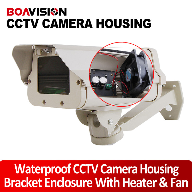 IP66 Outdoor CCTV Camera Housing Bracket Enclosure With Heater And Fan Size 298*145*110mm For Extreme Cold Or Warm Weatherproof cctv camera housing aluminum alloy for bullet box camera with bracket for extreme cold or warm outdoor built in heater and fan