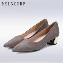 Plus Size 34-43 Fashion Stylish Pointed Toe Pumps Women Shoes Metal Thick High Heels Lady Slip on Flock Dress Party Casual Shoes