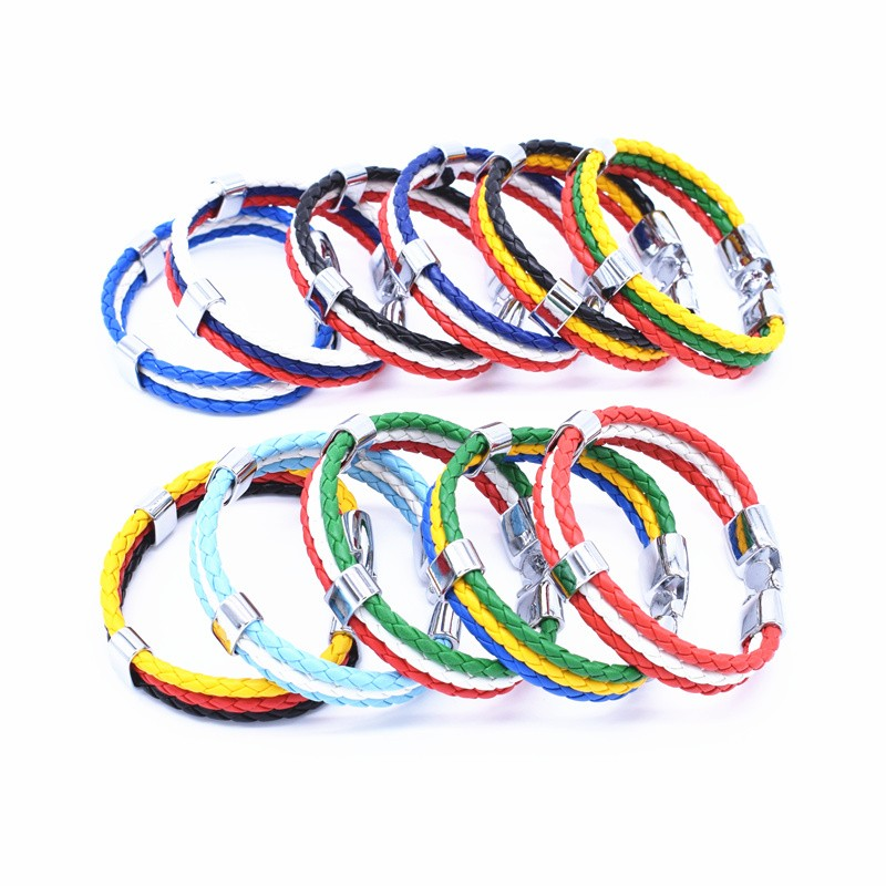 Wholesale Length 21cm 3 Strands Rope Braided Leather Chain & Link Bracelet Men Wristband National Flags Color Sports Bracelets 1