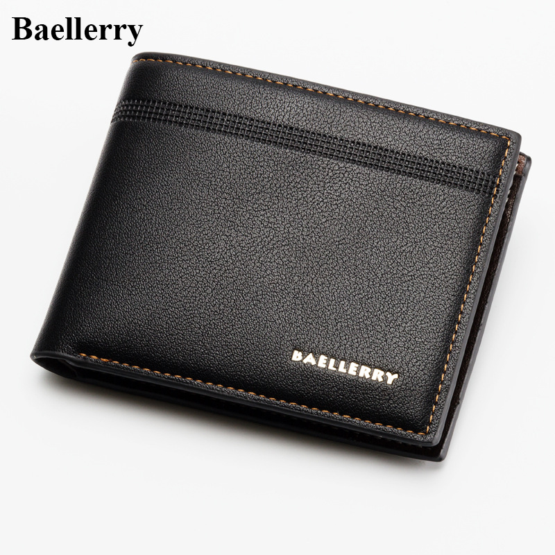 Baellerry Brand PU Leather Mens Wallets Casual Short Purses Male Small Wallets Credit Card Holders High Quality New Money Bags