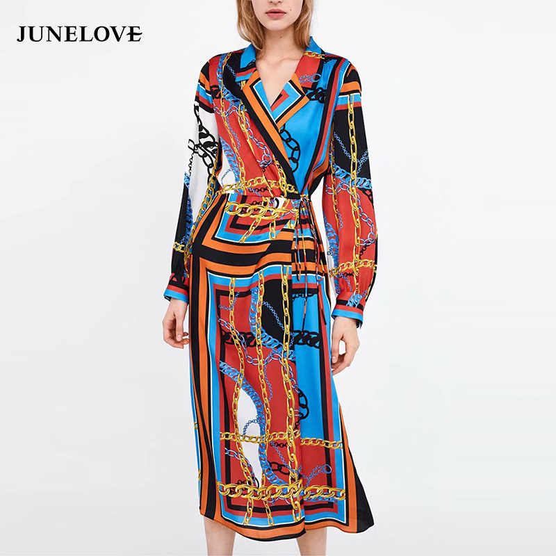 72790d80e5dd JuneLove Women Spring Long Sleeve Long Dress Vintage Female Chain Print  Maxi Dress Casual Lace-